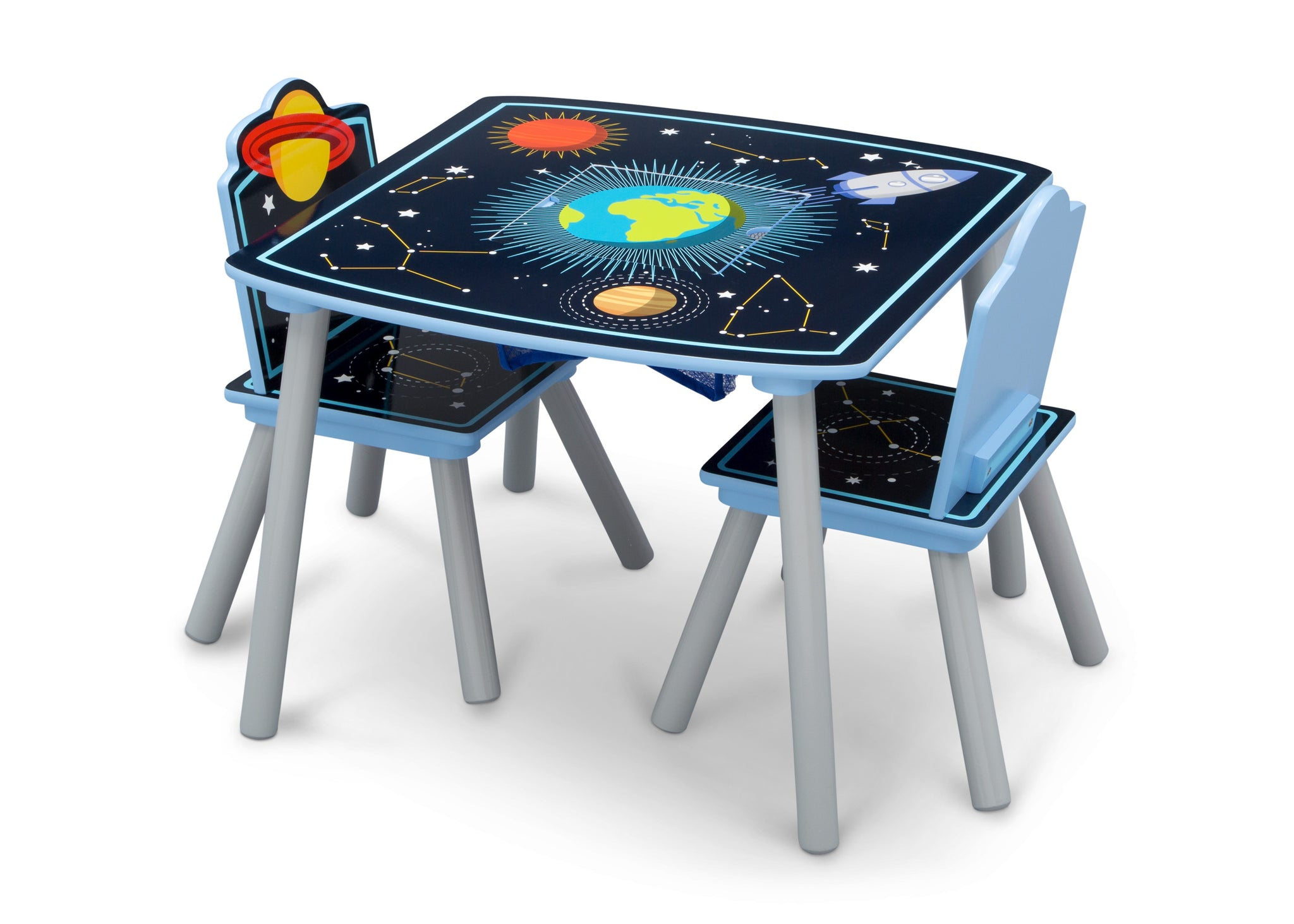Delta Children Space Adventures (1223) Kids Wood Table and Chair Set with Storage, Left Silo View with Chairs In