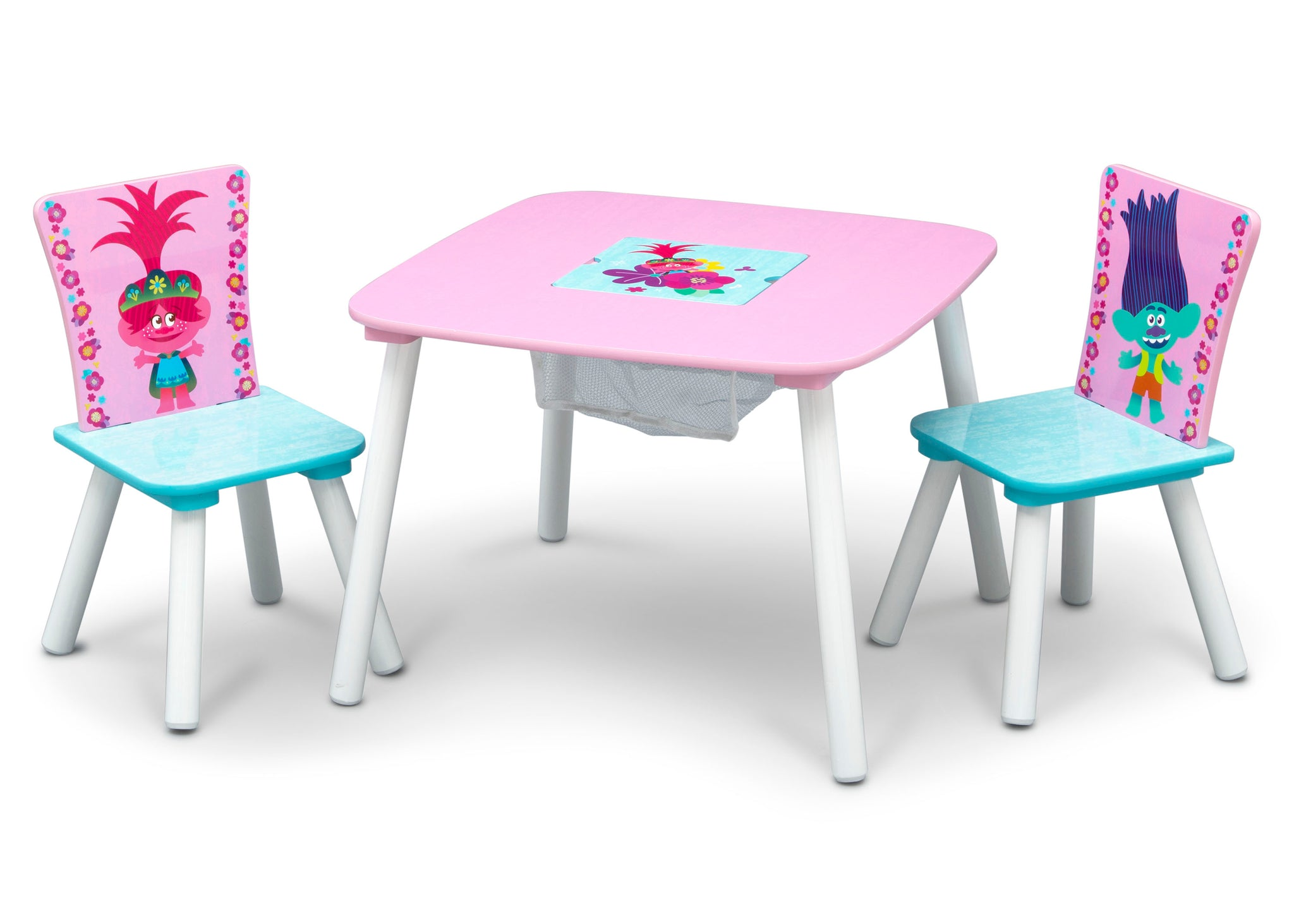 Delta Children Trolls World Tour (1177) Table and Chair Set with Storage, Left Silo View