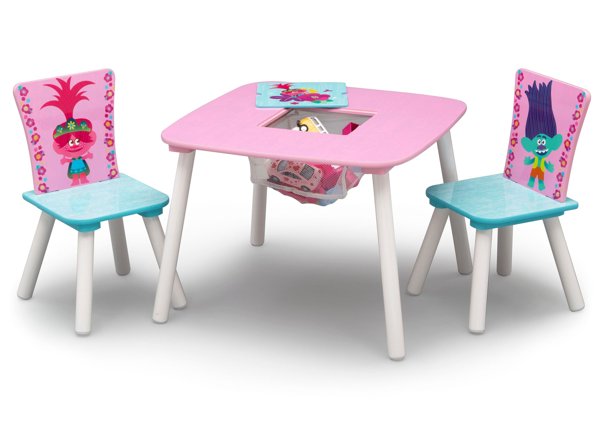 Delta Children Trolls World Tour (1177) Table and Chair Set with Storage, Left Silo View with Open Storage