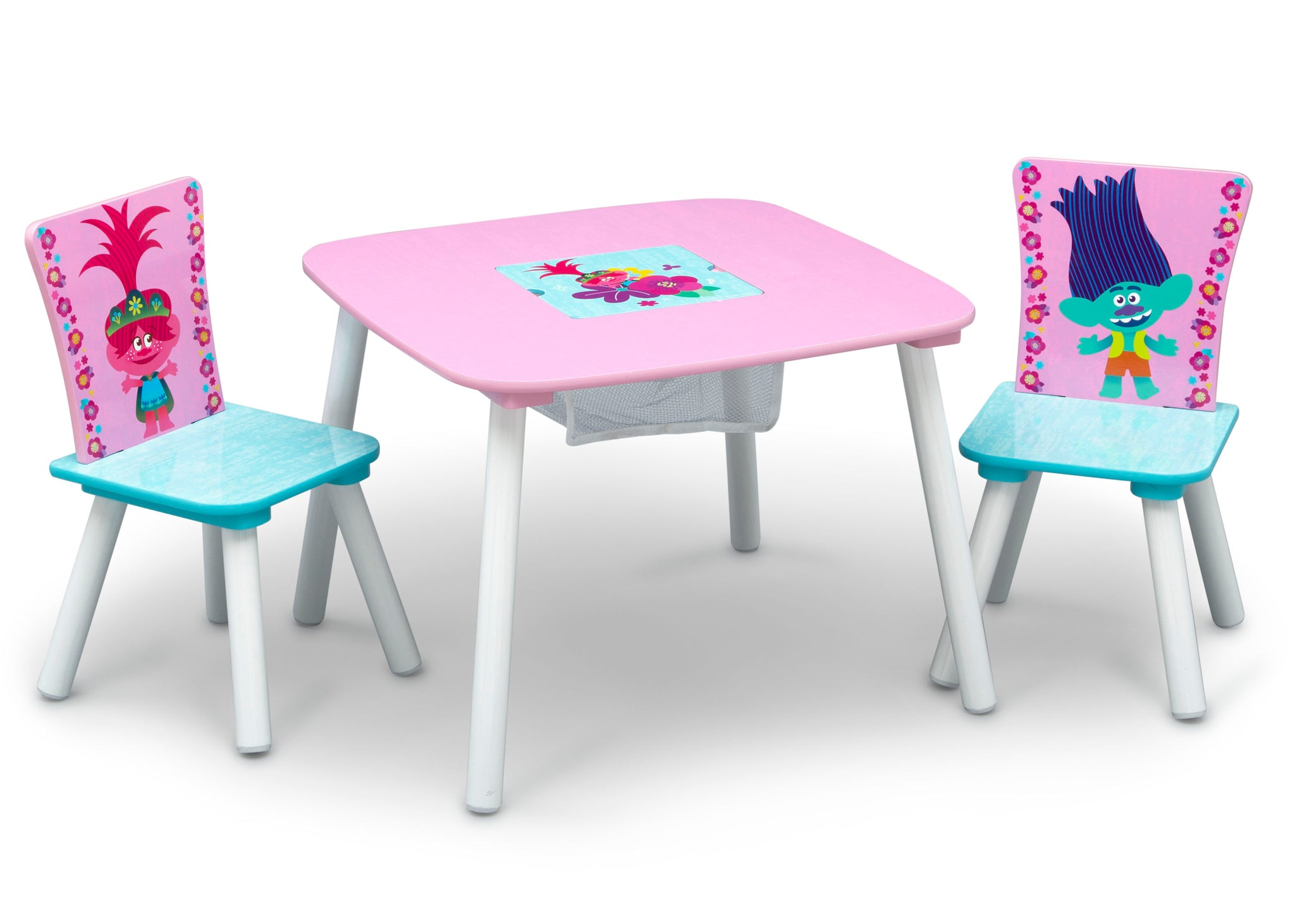 Delta Children Trolls World Tour (1177) Table and Chair Set with Storage, Right Silo View