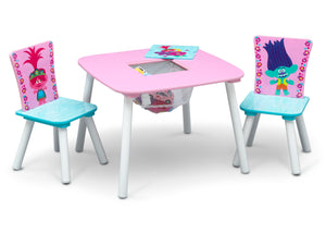 Delta Children Trolls World Tour (1177) Table and Chair Set with Storage, Right Silo View with Open Storage