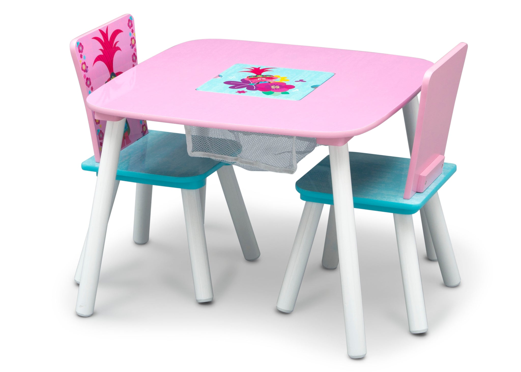 Delta Children Trolls World Tour (1177) Table and Chair Set with Storage, Left Silo View with Chairs In