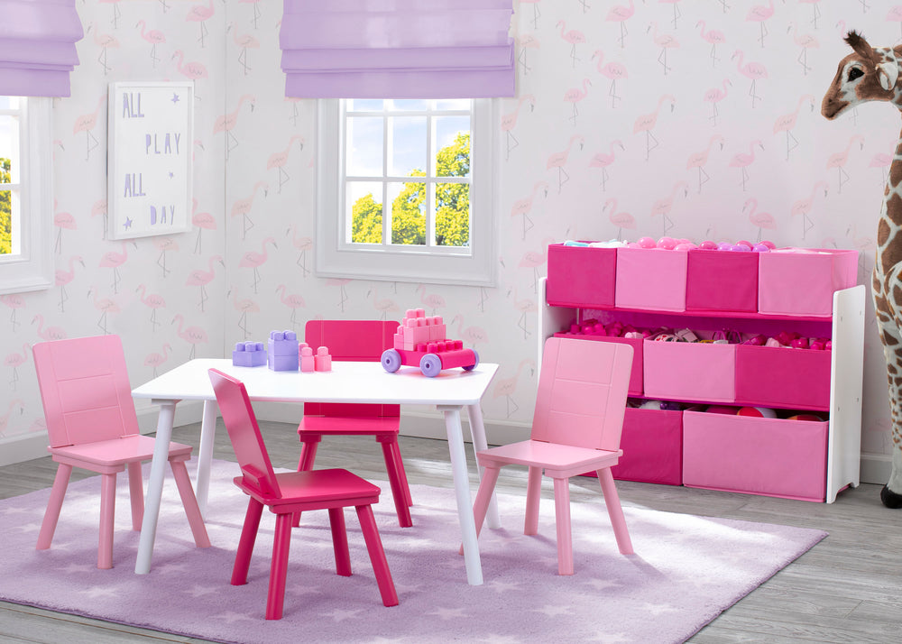 Delta Children TT87413GN-130 Bianca White/Pink (130) Table and Chair Set, Room View