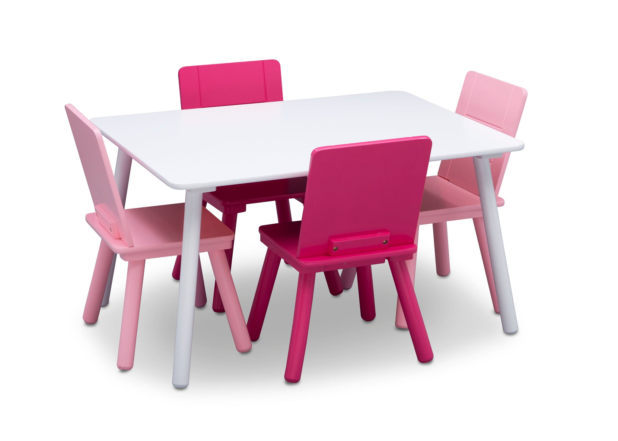 Delta Children Bianca White (130) Table and Chair Set, Silo with Chairs In View