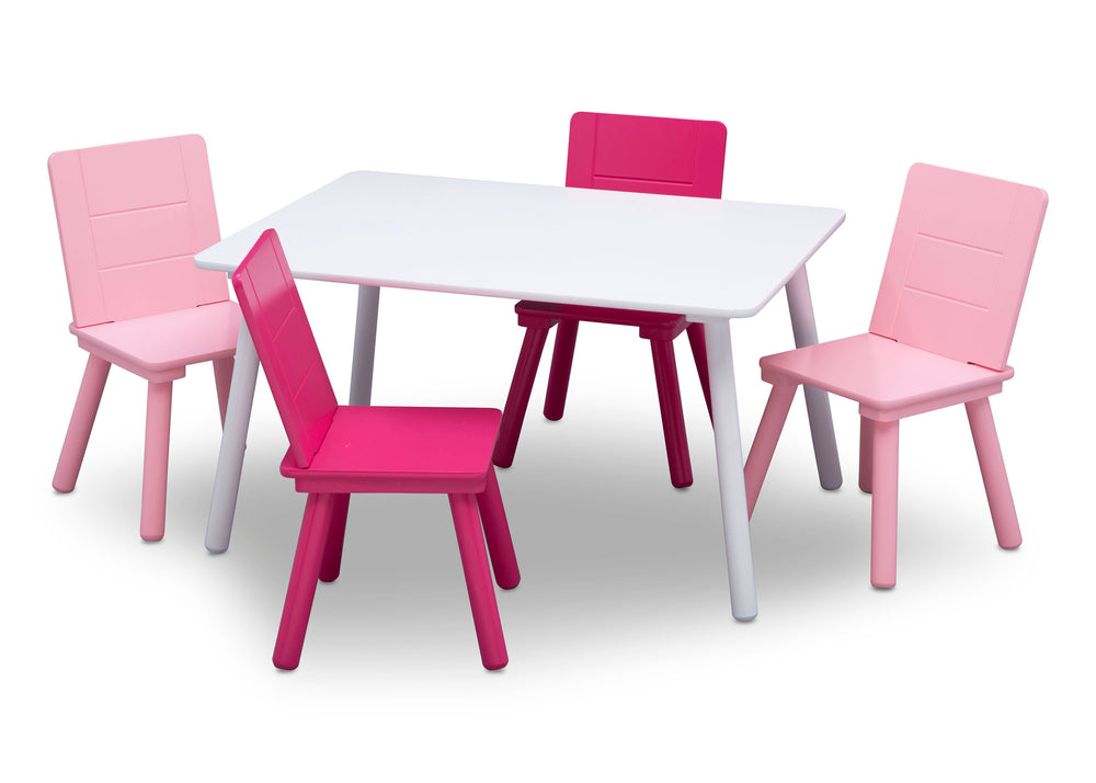 Delta Children TT87413GN-130 Bianca White/Pink (130) Table and Chair Set, Silo with Chairs Out View