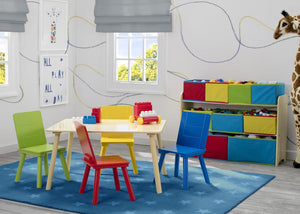 Delta Children Kids Table and Chair Set, Room View Natural and Primary Colors (1189)