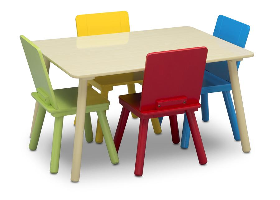 Delta Children Kids Table and Chair Set, Silo with Chairs In View Natural and Primary Colors (1189)