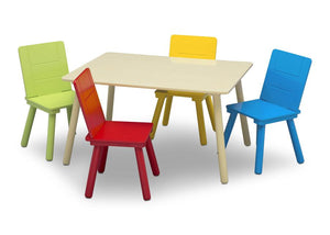 Delta Children Kids Table and Chair Set, Silo with Chairs Out View Natural and Primary Colors (1189)