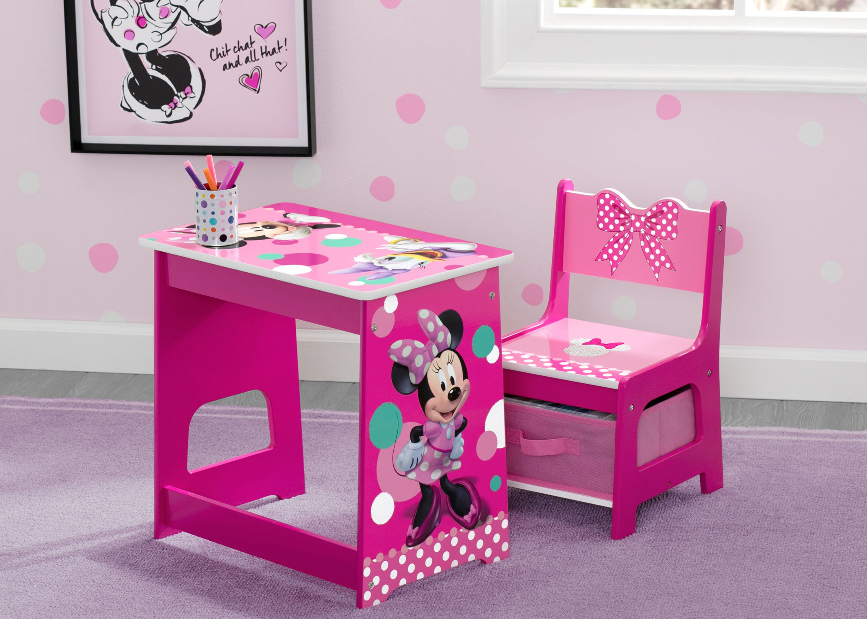 Minnie Mouse Kids Wood Desk And Chair Set Ebay