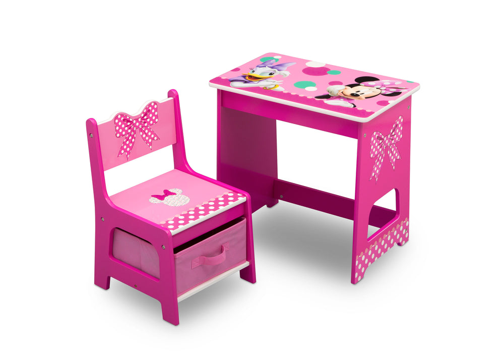Delta Children Minnie Mouse Kids Wood Desk and Chair Set, Right Silo View