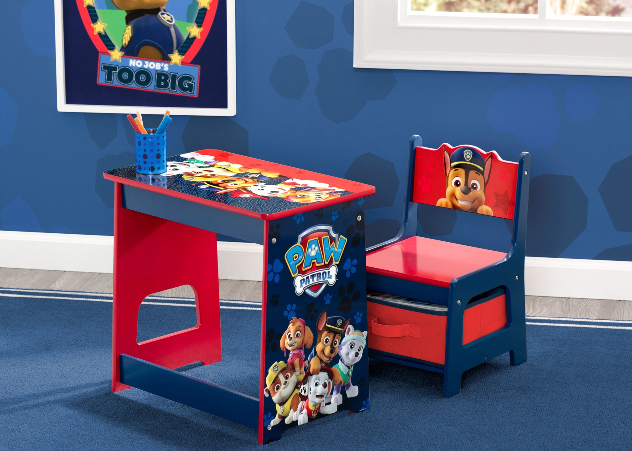 Delta Children PAW Patrol Kids Wood Desk and Chair Set, Hangtag View