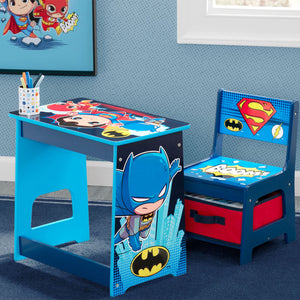 Delta Children Super Friends Kids Wood Desk and Chair Set, Hangtag View