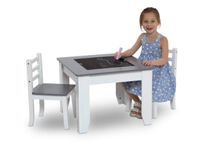 Delta Children Light Grey and White (1176)Chelsea Chair Set with Table Model Chalkboard View a4a
