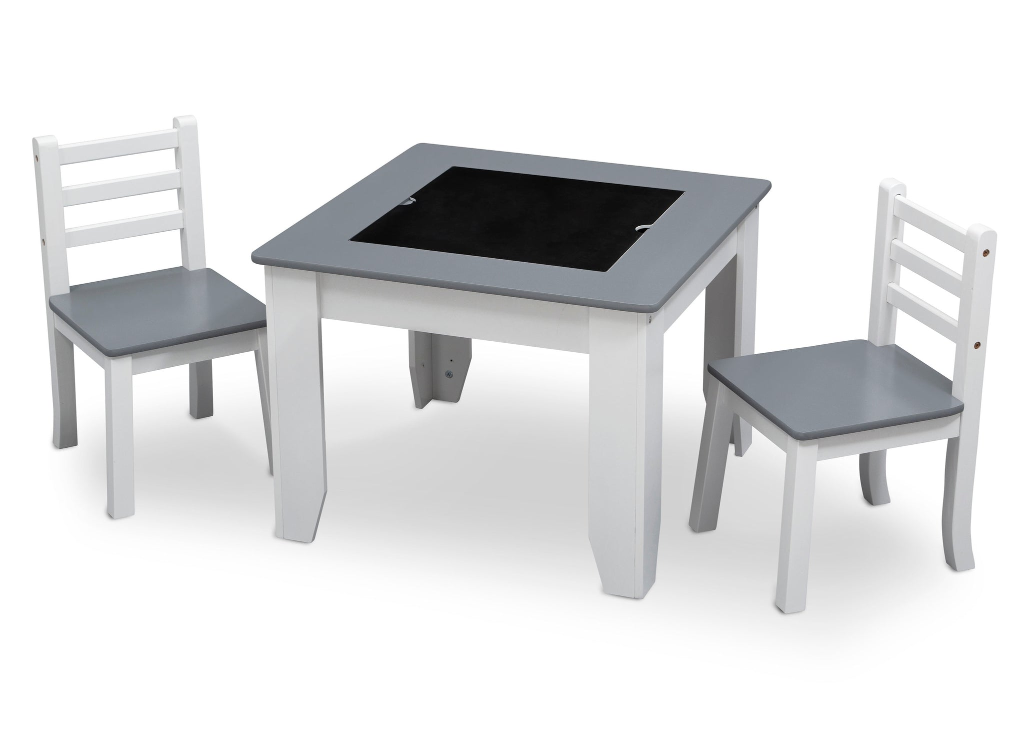Delta Children Light Grey and White (1176) Chelsea Chair Set with Table Left View Chalkboard a3a