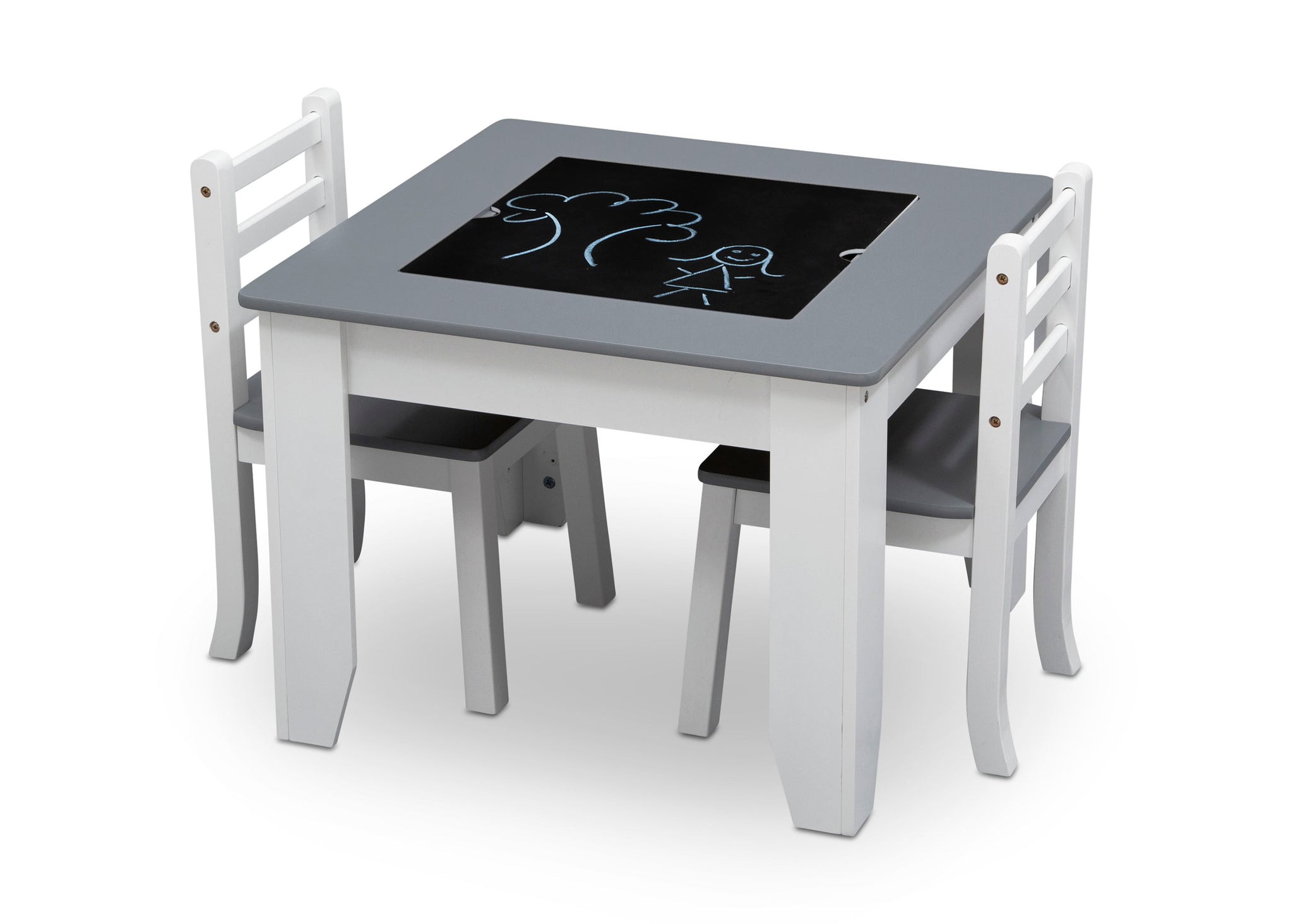 Delta Children Light Grey and White (1176) Chelsea Chair Set with Table Chalkboard with Drawing View a5a