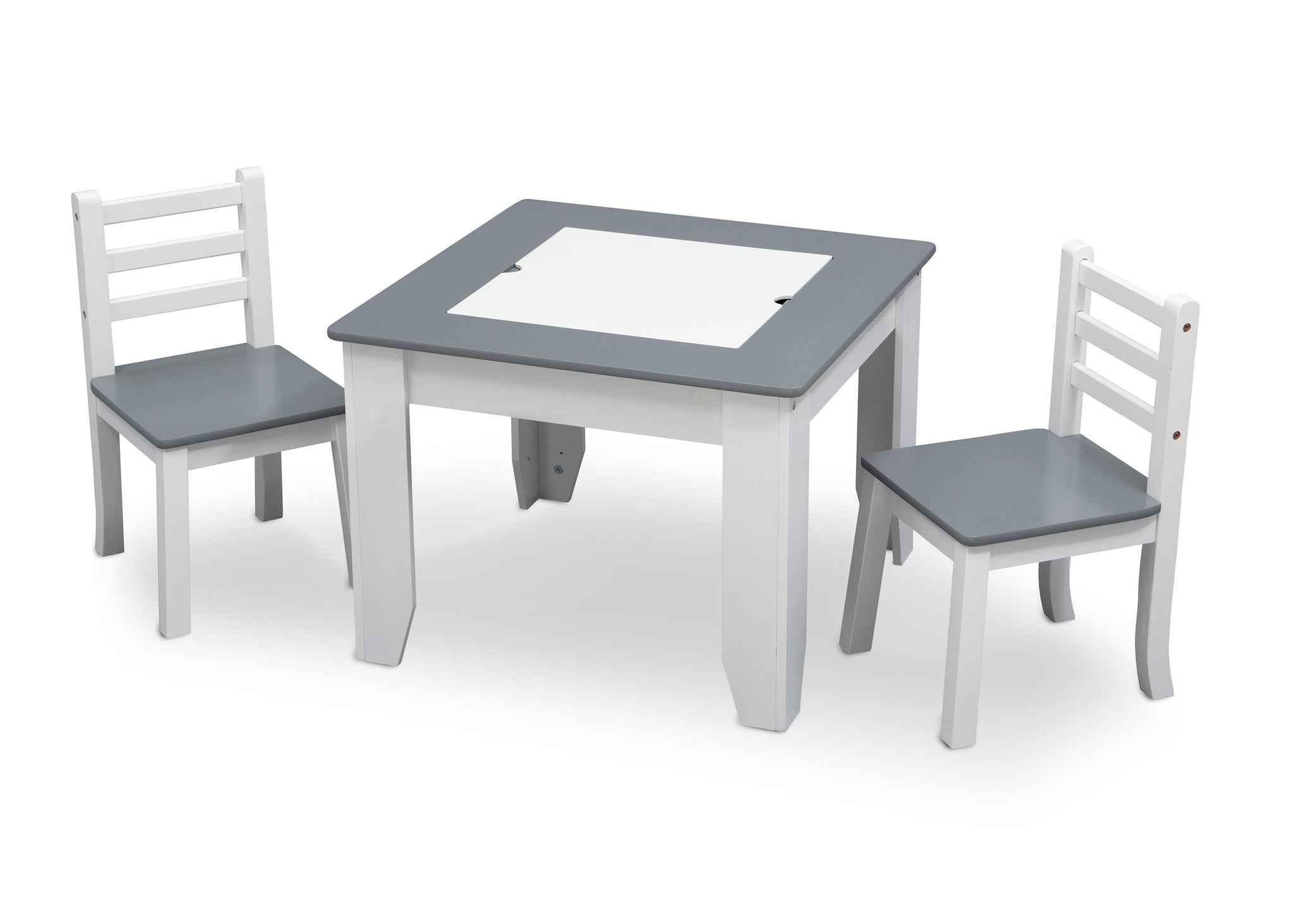 Delta Children Light Grey and White (1176) Chelsea Chair Set with Table Left View Dry Erase Board a2a