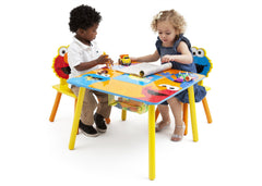 Delta Children Sesame Street Puzzle Table & Chair Set Left Side View with Props a2a