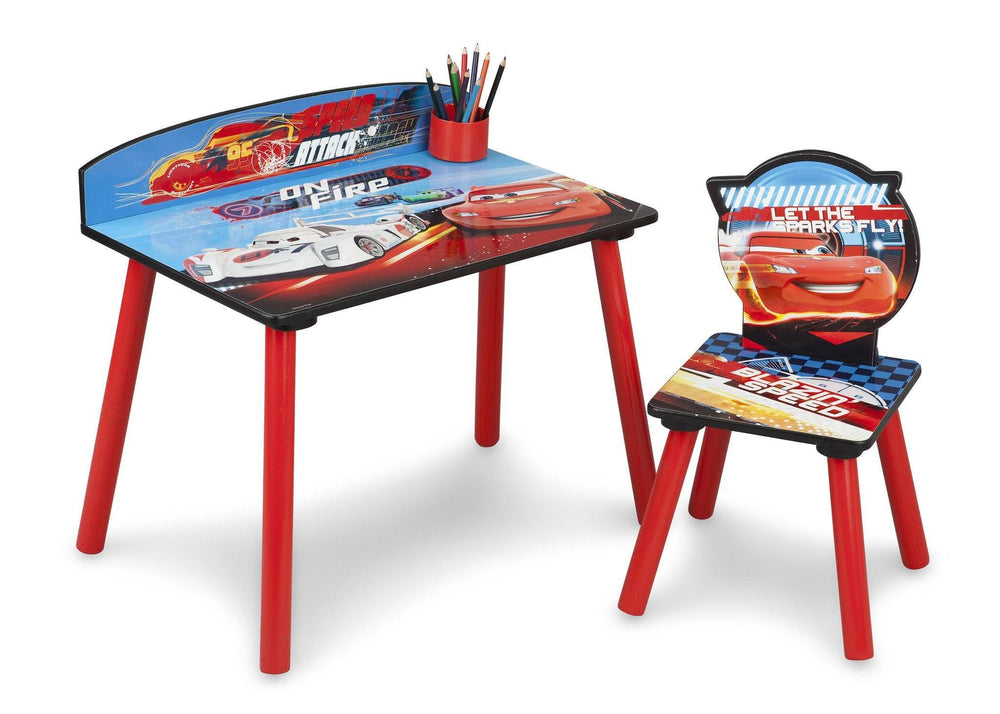 Delta Children Cars Desk and Chair, Left Side View with Props