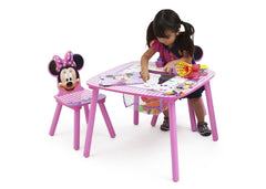 Delta Children Minnie Mouse Table and Chair Set with Storage, Left View with Model a3a