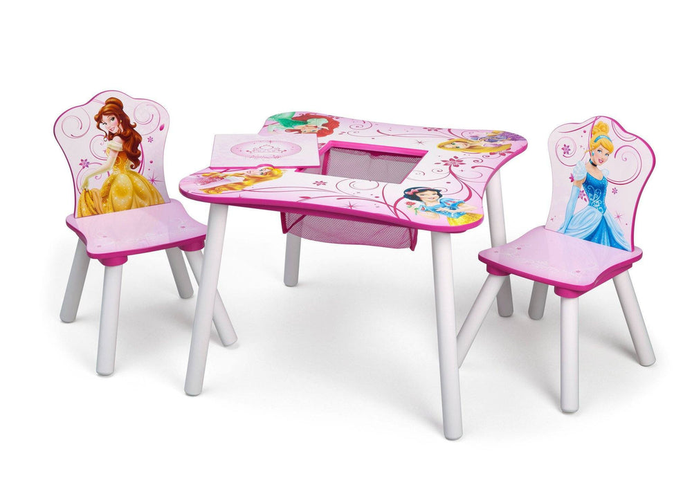 Delta Children Princess Table and Chair Set with Storage Left View a2a