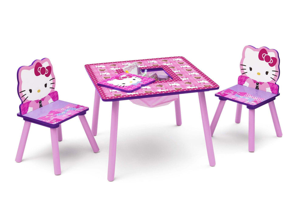 Delta Children Hello Kitty Table & Chair Set with Storage Right Side View with Props a1a