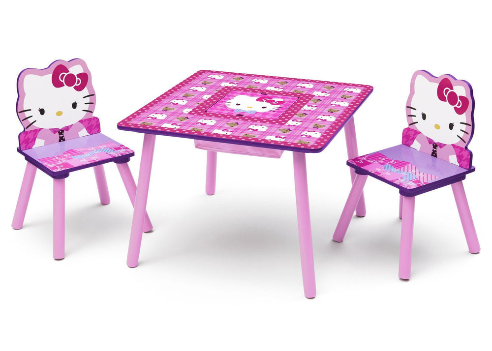 Delta Children Hello Kitty Table & Chair Set with Storage Left Side View a2a