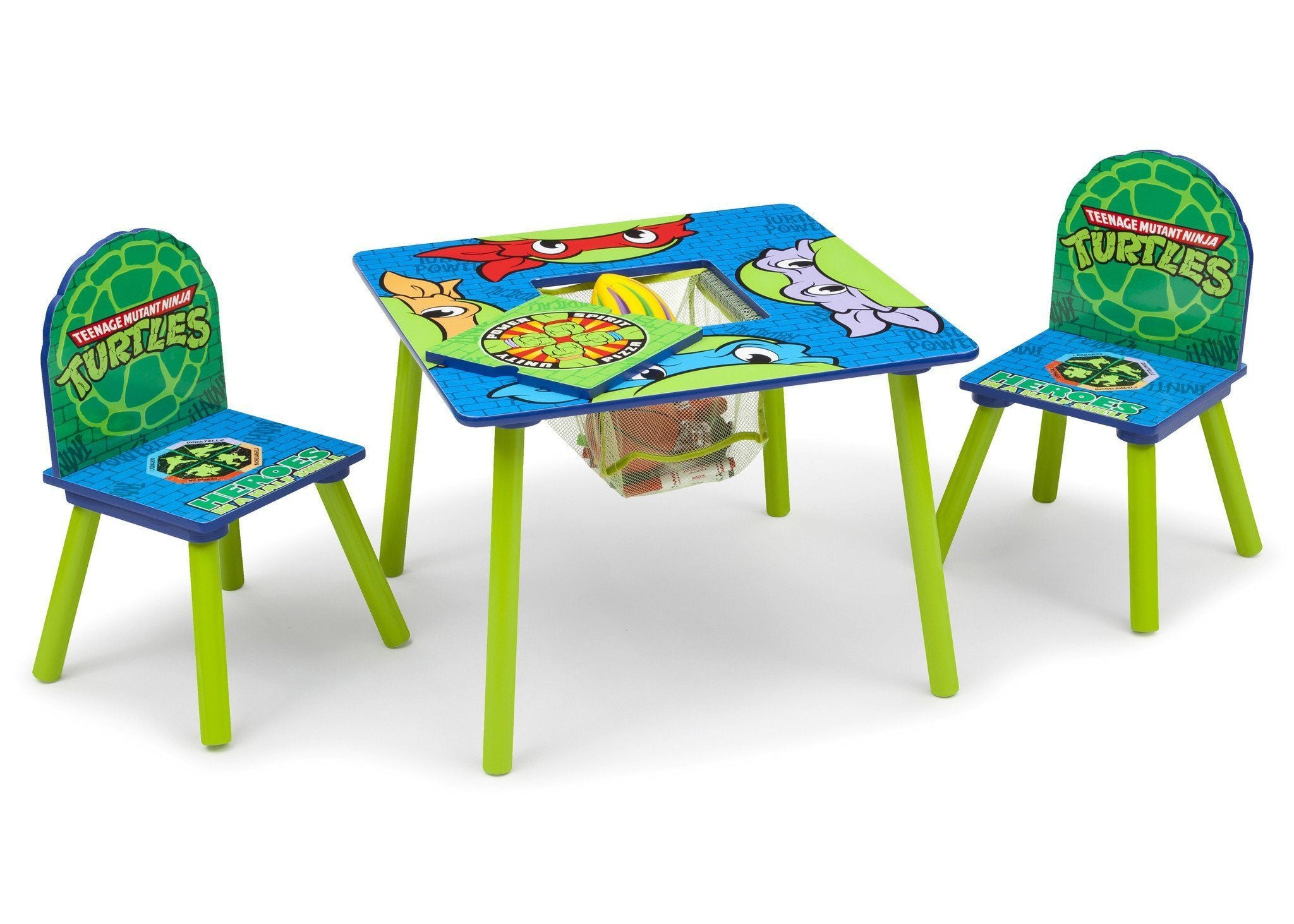 Delta Children Teenage Mutant Ninja Turtles Table & Chair Set w/ Storage, Right Side View with Storage 2 a1a Ninja Turtles (1117)