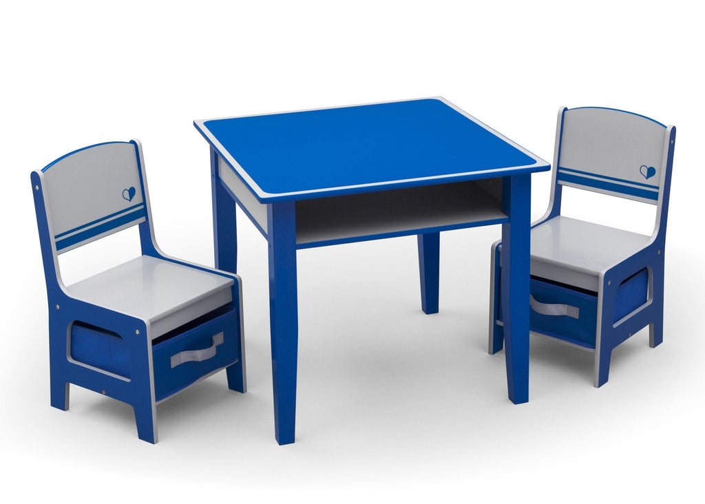 Blue and Grey Jack and Jill Storage Table & Chair Set Style 1, Right View a2a