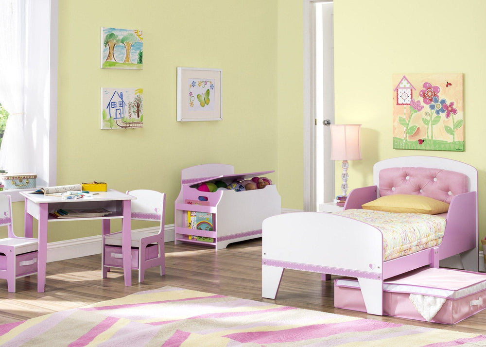 Pink and White Jack and Jill Storage Table & Chair Set Style 1, Room View a1a