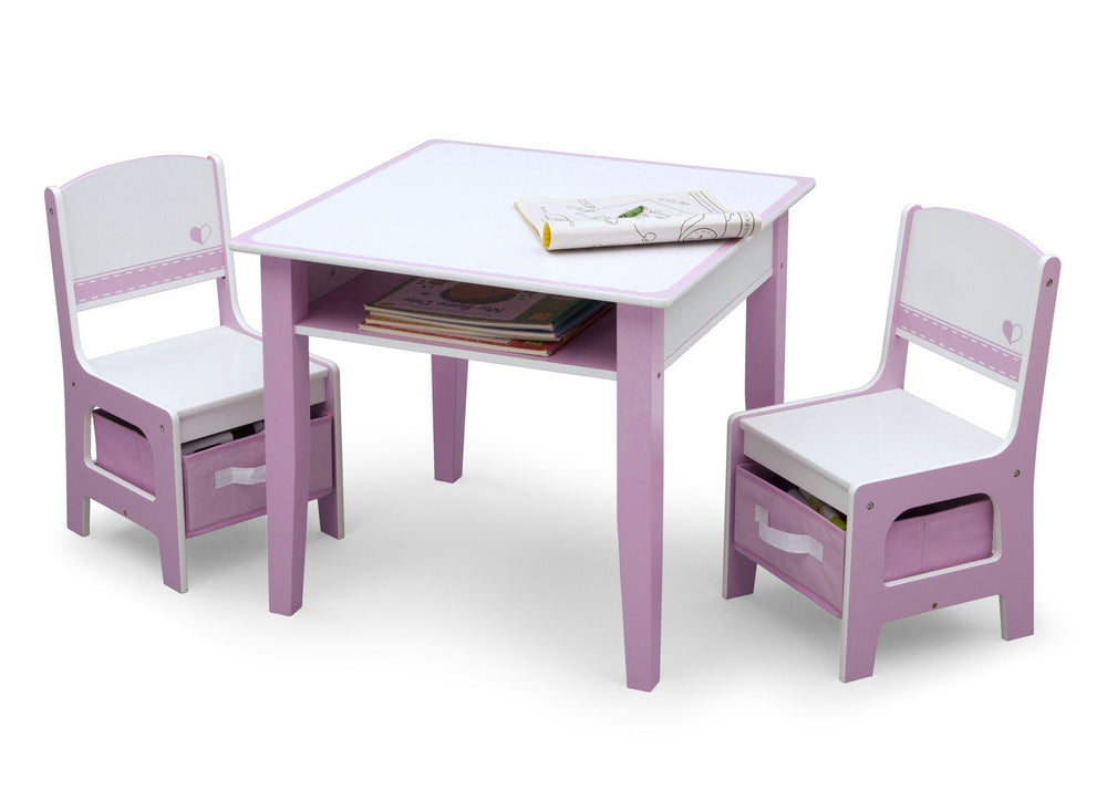 Pink and White Jack and Jill Storage Table & Chair Set Style 1, Left View a3a