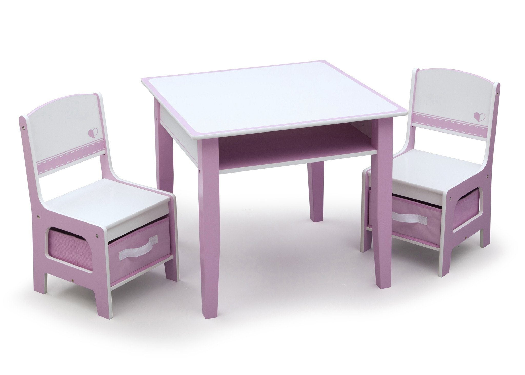 Pink and White Jack and Jill Storage Table & Chair Set Style 1, Right View a2a