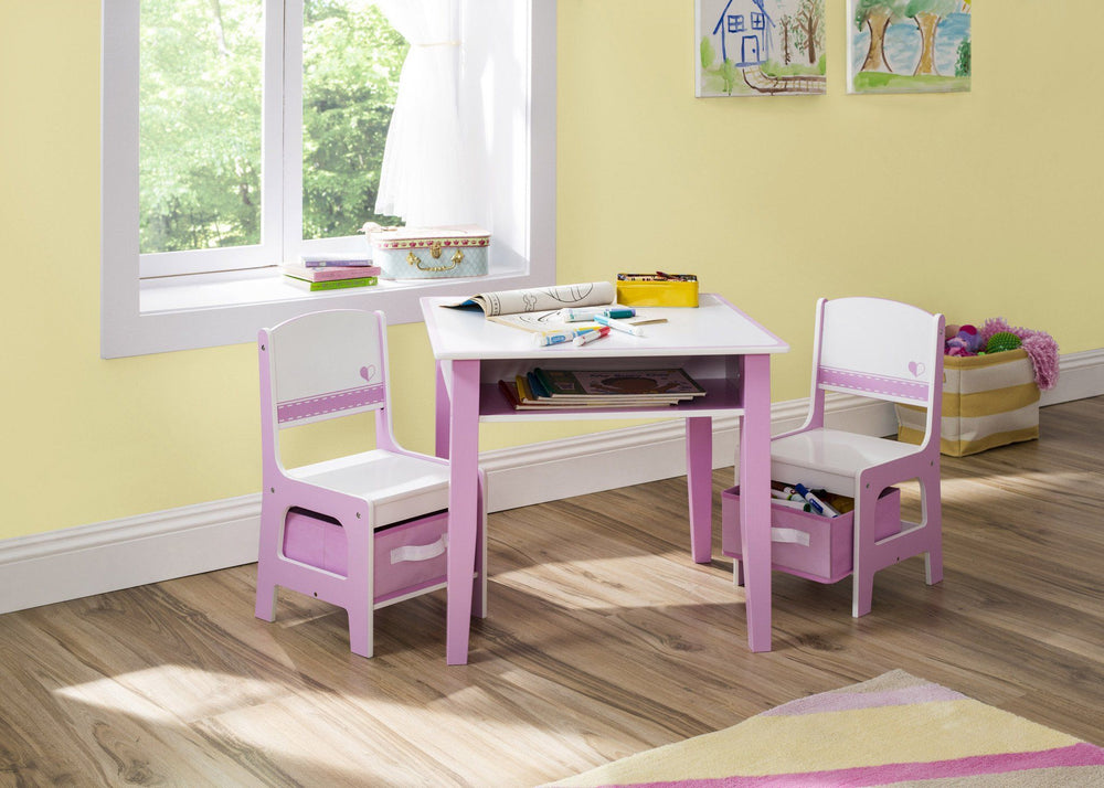 Jack and Jill Storage Table & Chair Set, Pink and White