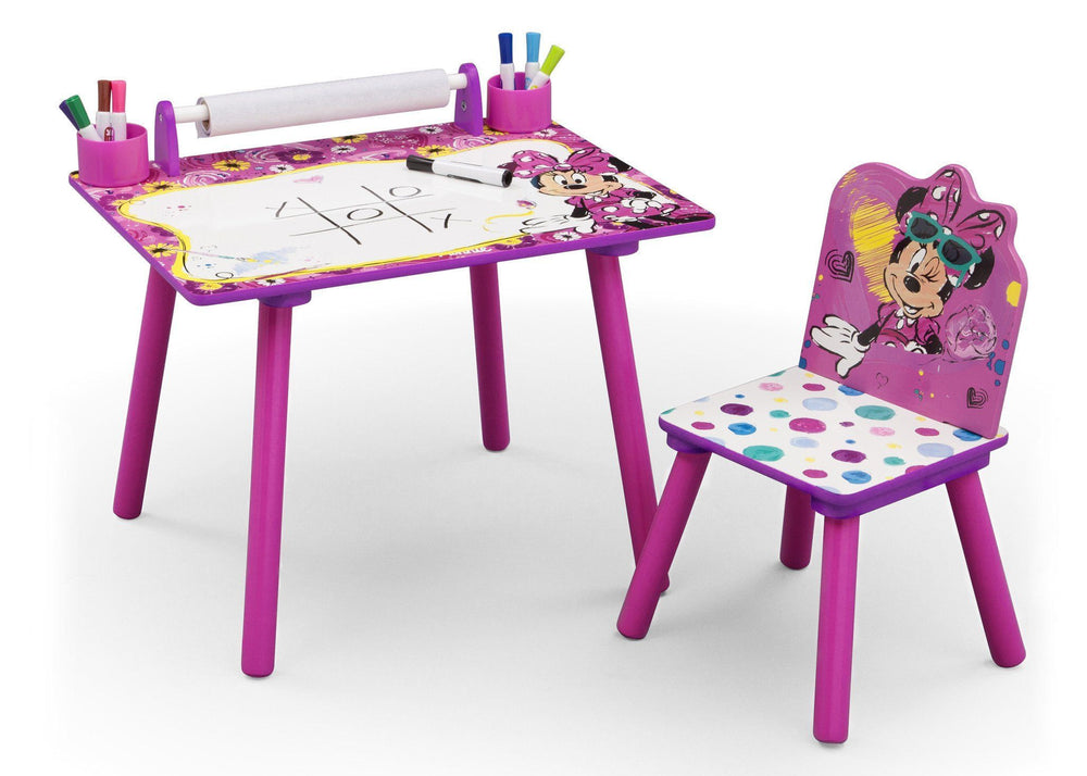Delta Children Minnie Mouse Art Desk, Left View with Props a2a