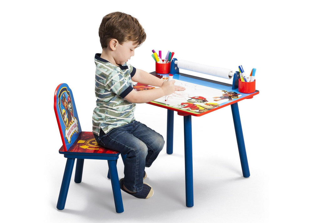 Delta Children PAW Patrol Art Desk, Right View with Props and Model