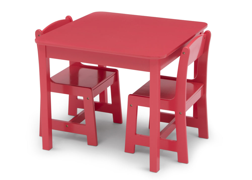 Delta Children Poppy Red (032C) MySize Table & Chairs Set, Left Silo View with Chairs In