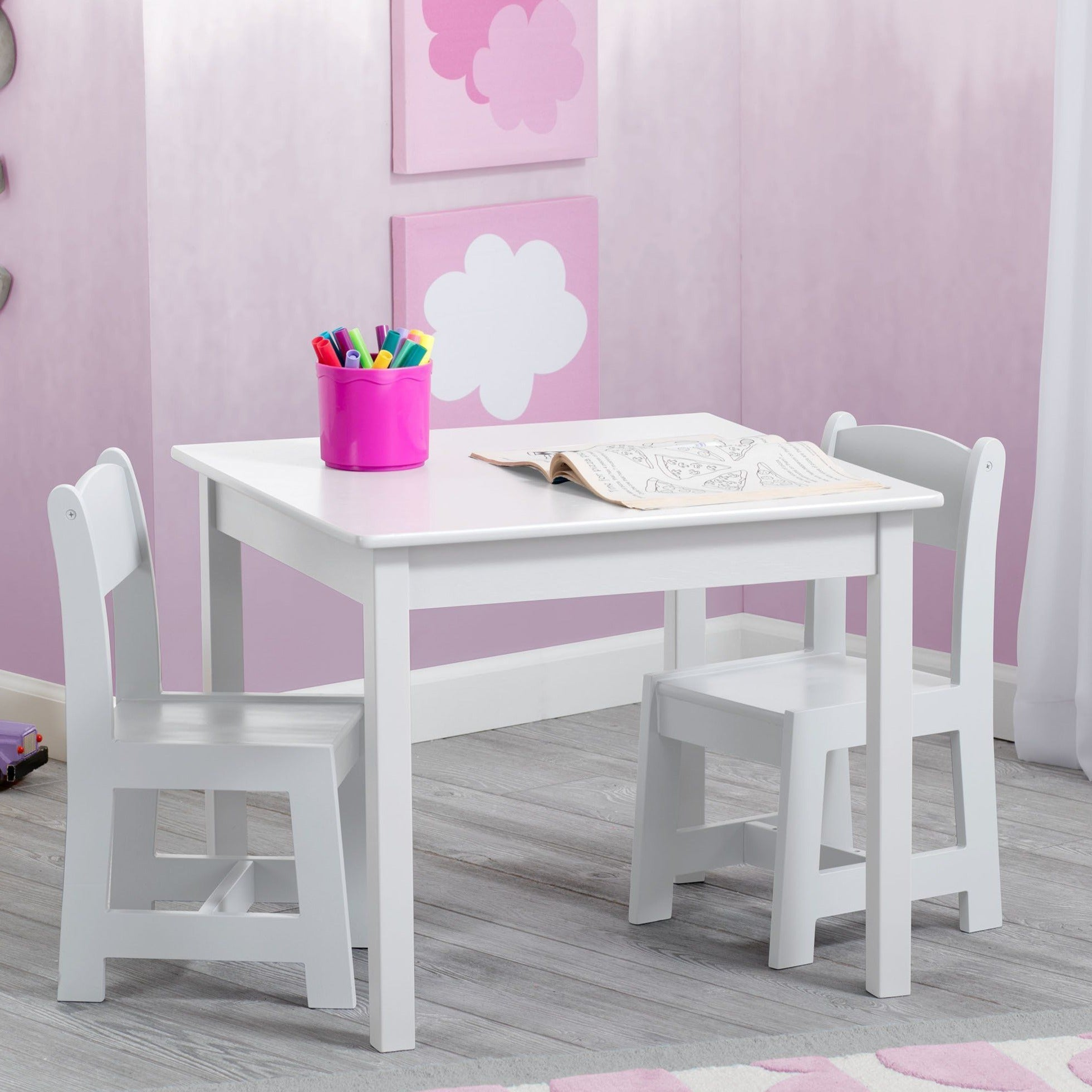 Delta Children Bianca White (130) MySize Table & Chairs Set, Room, b1b