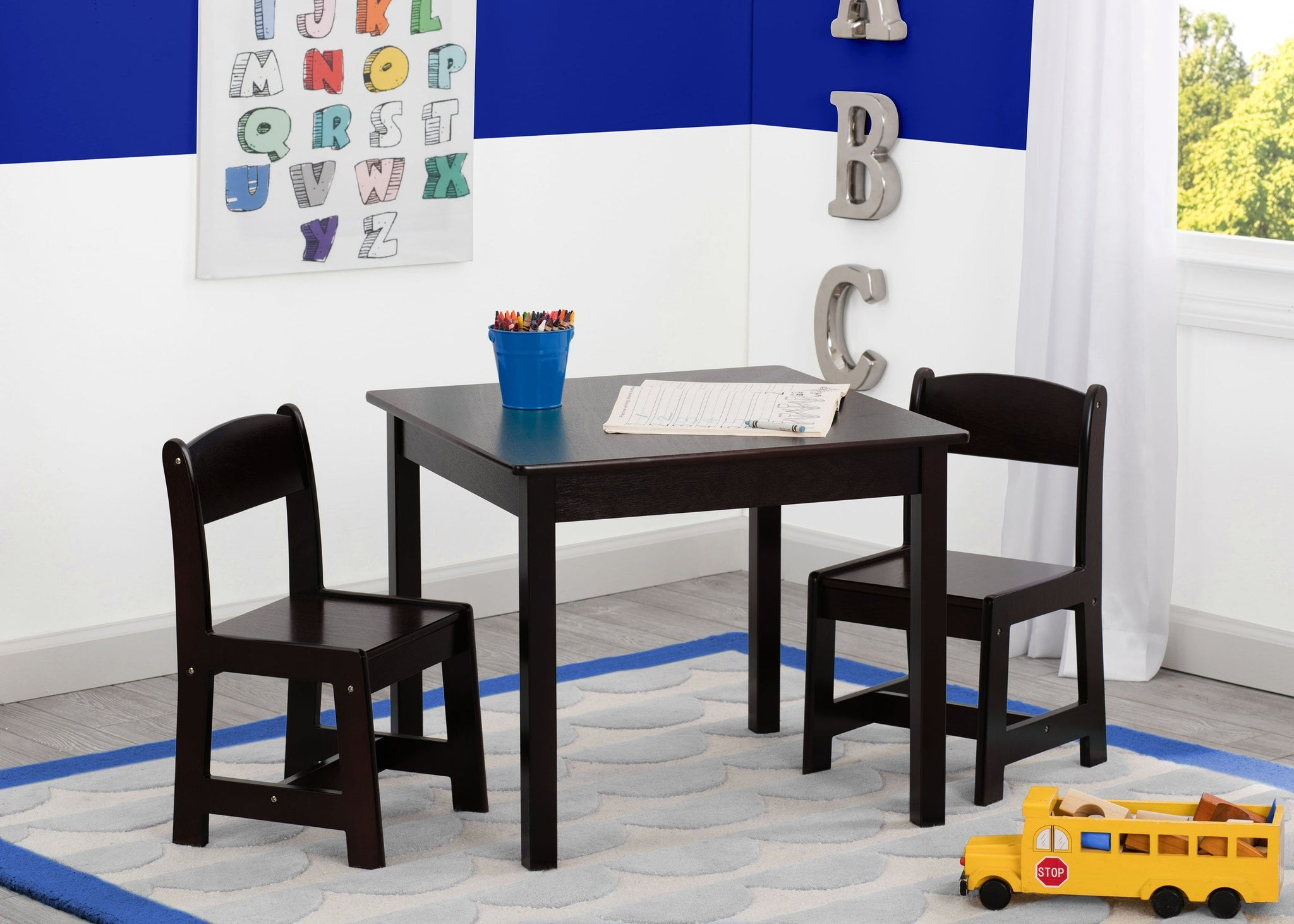 Delta Children Dark Chocolate (207) MySize Table & Chairs Set, Room, c1c