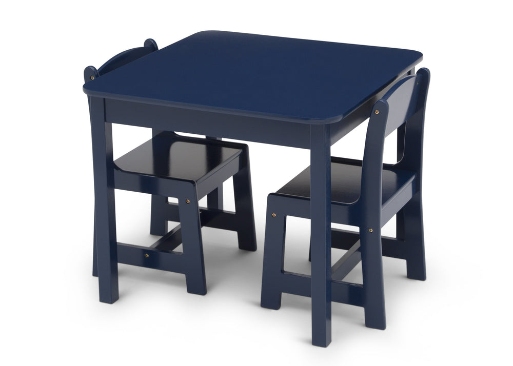 Delta Children Deep Blue (295C) MySize Table & Chairs Set, Left Silo View with Chairs In