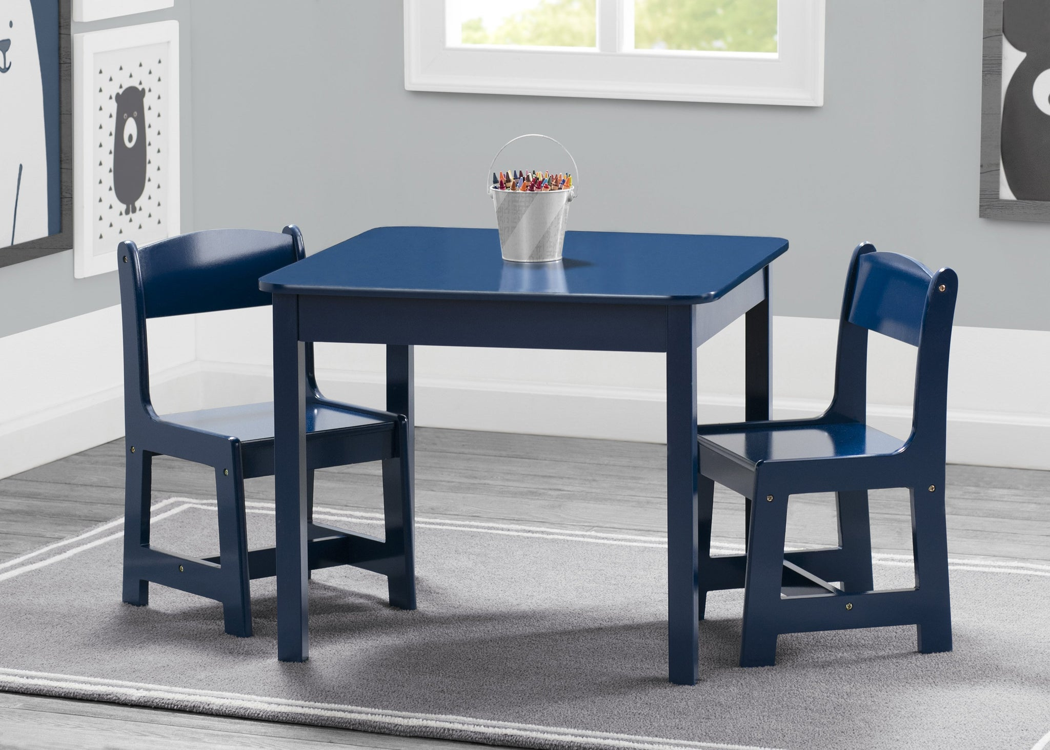 Delta Children Deep Blue (295C) MySize Table & Chairs Set, Hangtag View