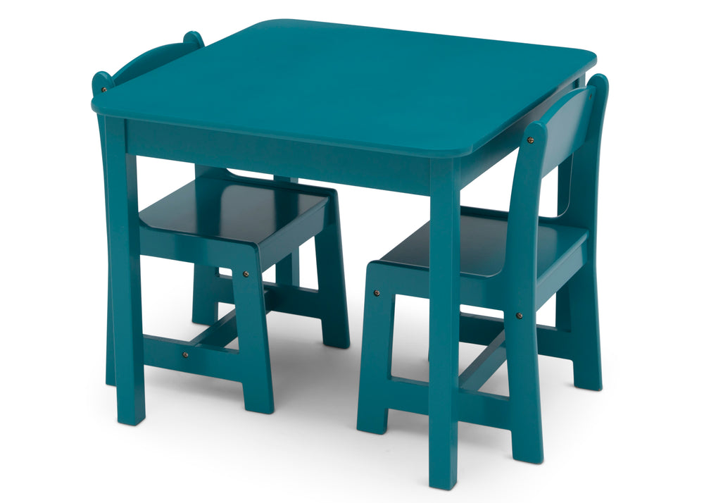 Delta Children Teal (7474C) MySize Table & Chairs Set, Left Silo View with Chairs In