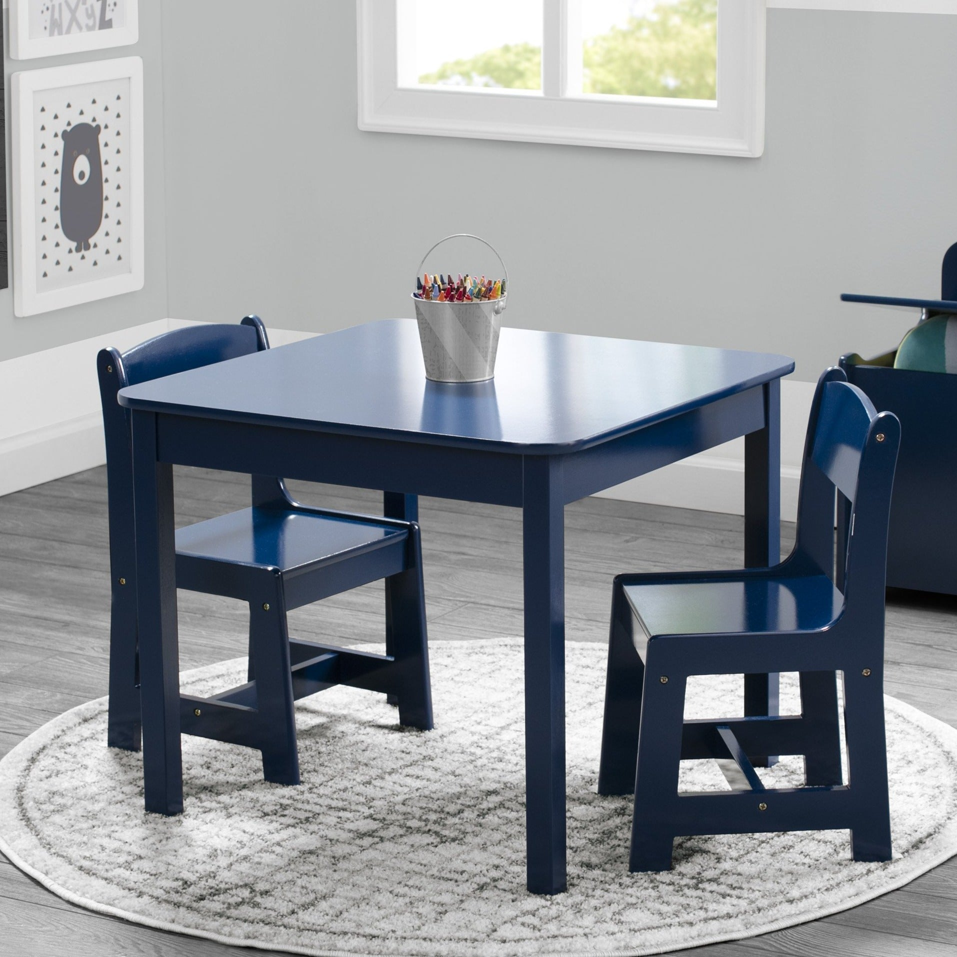 Delta Children Deep Blue (295C) MySize Table & Chairs Set, Room View