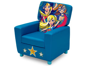 Delta Children DC Super Hero Girls (1205) High Back Upholstered Chair, Left Angle, a2a
