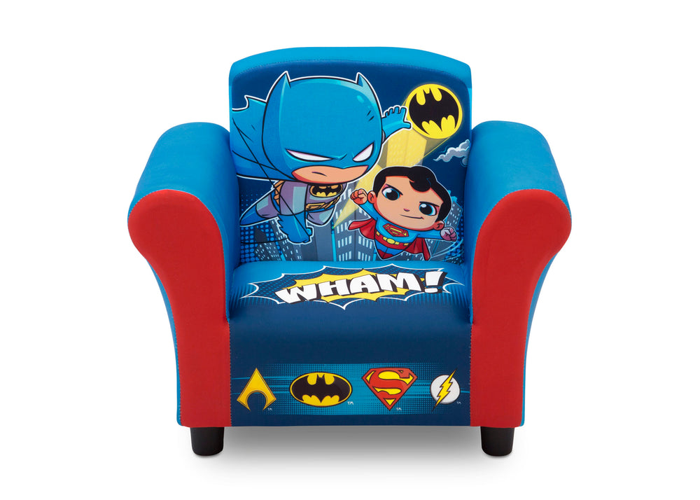 Delta Children Style 1 Super Friends (Superman | Batman | The Flash | Aquaman) Kids Upholstered Chair Front View a1a
