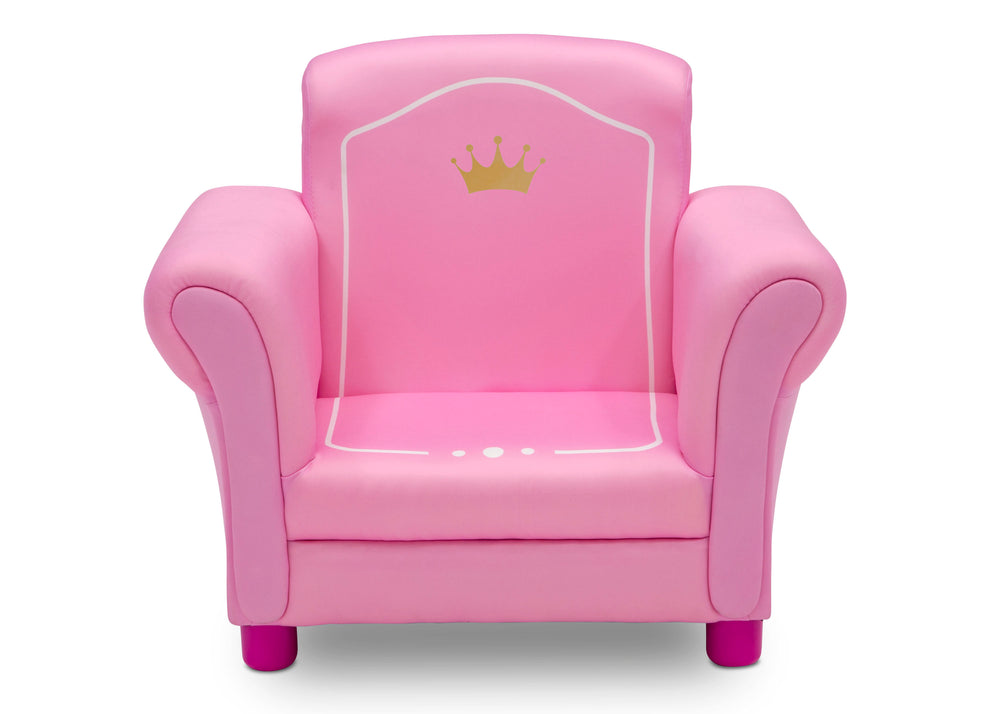 Delta Children Love Girl (1187) Princess Crown Kids Upholstered Chair, Front Silo View