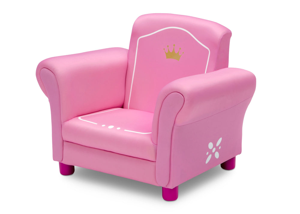 Delta Children Love Girl (1187) Princess Crown Kids Upholstered Chair, Left Silo View