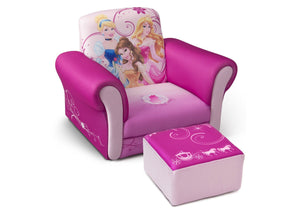 Delta Children Princess Upholstered Chair with Ottoman, Right View a1a