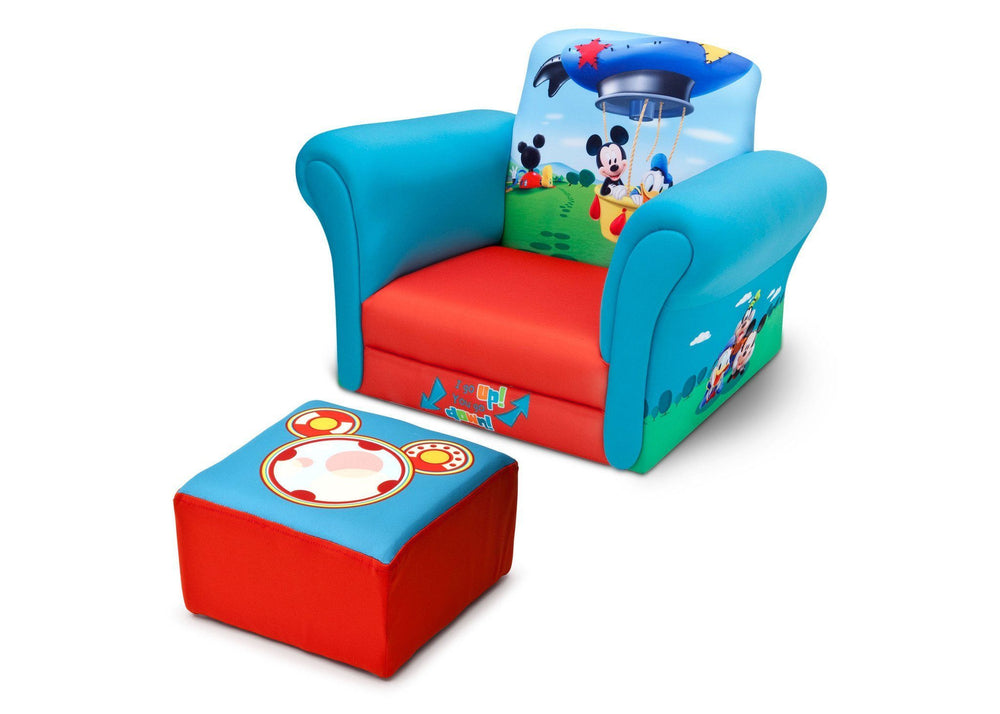 Delta Children Mickey Mouse Upholstered Chair with Ottoman, Left View a2a