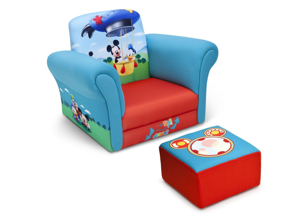Delta Children Mickey Mouse Upholstered Chair with Ottoman, Right View a1a