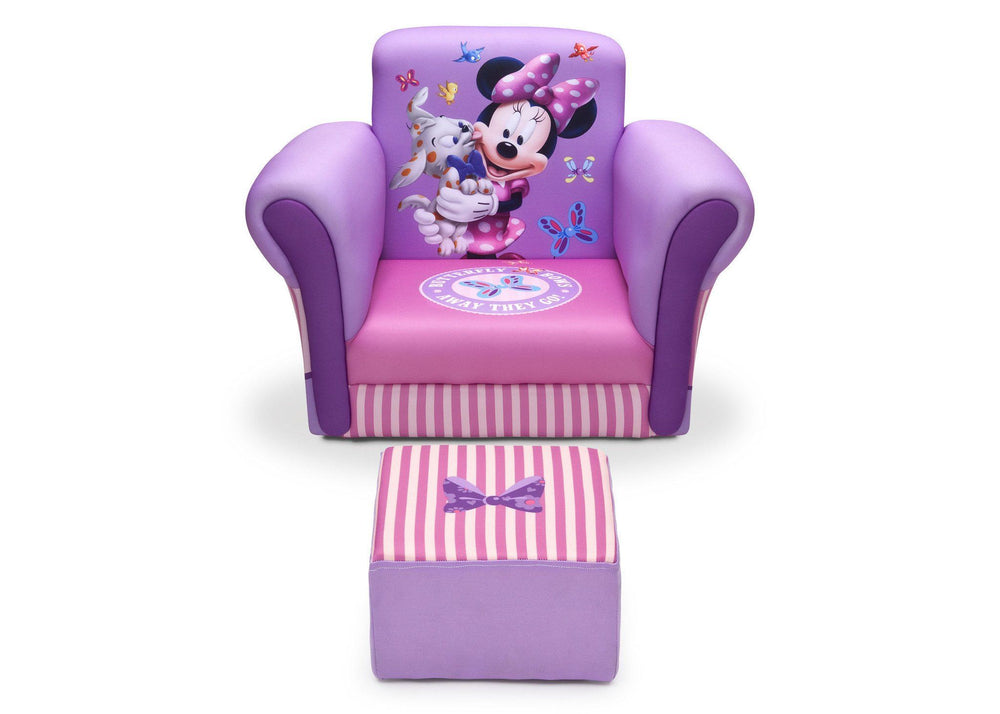 Delta Children Minnie Mouse Upholstered Chair with Ottoman, Front View