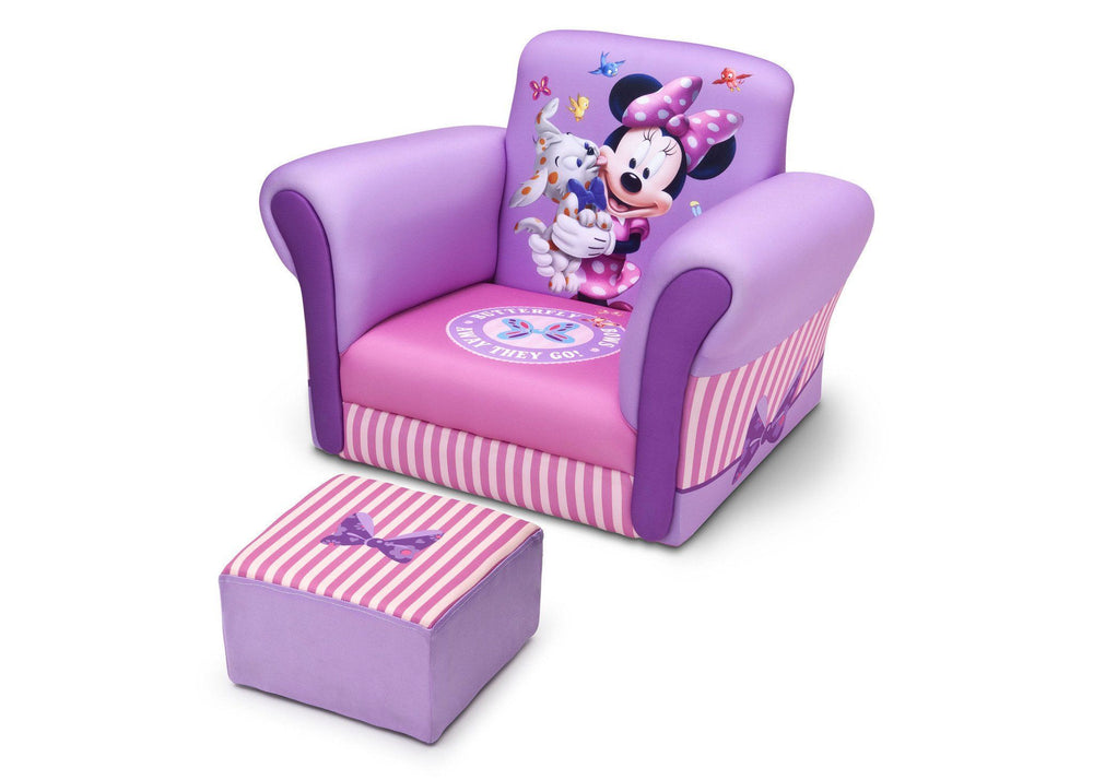Delta Children Minnie Mouse Upholstered Chair with Ottoman, Left View a2a